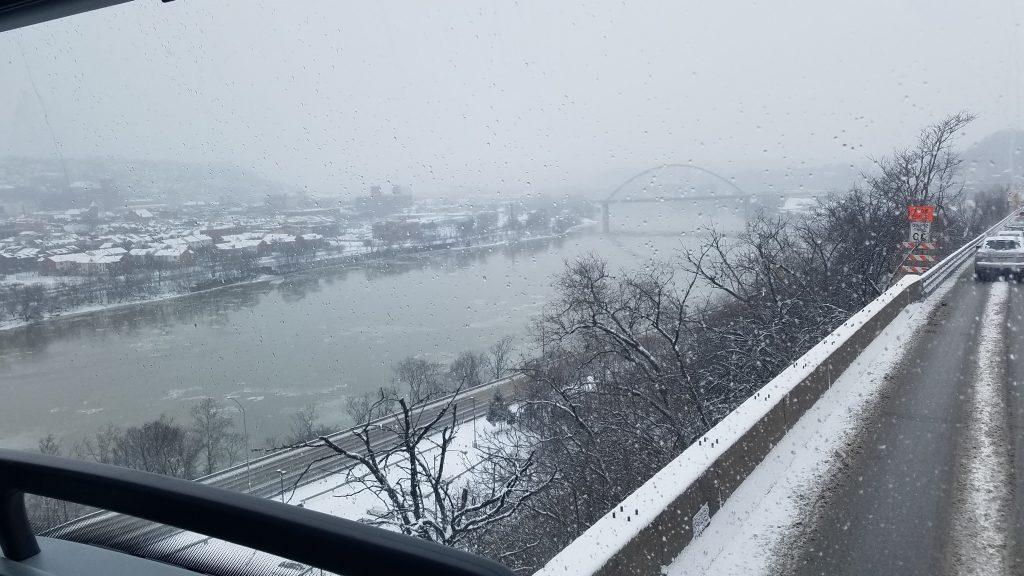 winter scene of river and bridge